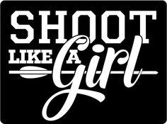 Archery Shoot Like a Girl White Vinyl Sticker | Archery Squad