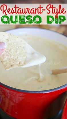 Crock Pot White Queso Dip recipe from The Country Cook. Restaurant Style quest blanco with Velveeta cheese and seasonings!