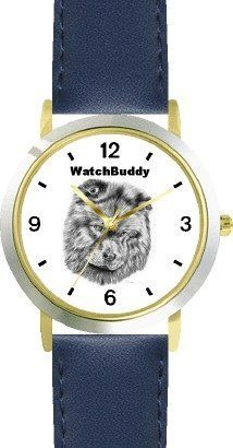 Chow Chow (SC) Dog - WATCHBUDDY® CLASSIC DELUXE TWO-TONE THEME WATCH - Arabic Numbers-Blue Leather Strap-Children's Size-Small ( Boy's Size & Girl's Size ) WatchBuddy. $49.95