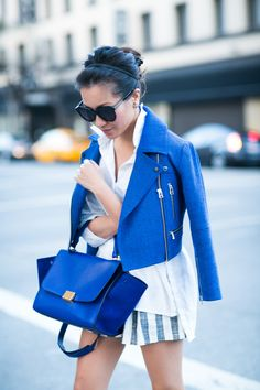 Gotham :: Sapphire cropped jacket & Emerald pumps :: Outfit :: Top :: Marissa Webb jacket, ASOS top Bottom :: shorts thanks to Pinkyotto! Bag :: Celine Shoes :: Banana Republic Accessories :: Karen Walker sunglasses Published: May 16, 2015