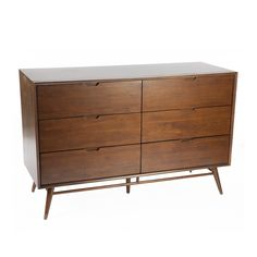 The Jorgen Six Drawer Storage Unit's mid-century design is bench crafted with the highest attention to detail and the premium materials to ensure lasting durability. This storage unit's design was heavily influenced by the Danish designs of the 1950's. Its sleek, linear shape and low profile will add a touch of sophistication to any room.