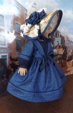 Civil War Walking Dress and Bonnet for American GIrl Cecile, Addy, Marie Grace