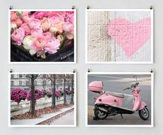 Paris Color Photography Set, Pink - French Fine Art Photograph Art Prints, Paris Decor and Wall Art, Pink Wall Decor, Teen Art. $78.00, via Etsy.