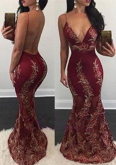 Burgundy Mermaid Prom Dresses Flower Appliques Sexy Backless V-Neck Sheer Evening Gowns