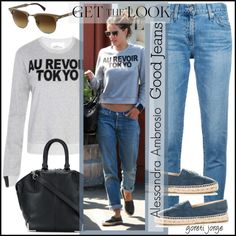 Alessandra Ambrosio-Tear it Up: Distressed Denim by goreti on Polyvore featuring мода, Aiko, AG Adriano Goldschmied, Alexander Wang and Ray-Ban