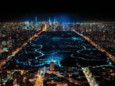 New York City at night - Central Park aerial view