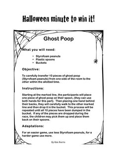 Halloween Themed Minute to Win It - Ghost Poop