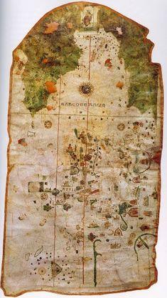PRIMER MAPAMUNDI POR JUAN DE LA COSA en 1500.......... Es el primer mapa que muestra de forma indiscutible el continente americano.