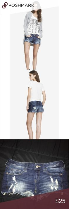 """EXPRESS 2 Inch Destroyed Denim Cutoff Shorts Look oh-so hot while staying cool. These cutoff shorts provide extra comfort thanks to soft fabric, while frayed patches and raw edges keep your look on-trend. Pair them with your favorite tee or tank for a classically sun-kissed ensemble.  One button closure with zip fly Five pocket styling Frayed accents Raw hem; 2"""" inseam Cotton/Spandex Machine wash Imported Express Shorts Jean Shorts"""