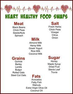 Healthy Food Swaps, Heart Healthy Diet, Heart Healthy Recipes, Healthy Tips, Diet Recipes, Heart Diet, Eat Healthy, Heart Disease Diet, What Is Healthy Food