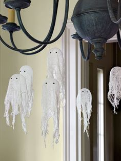 52 Halloween Craft Ideas for Kids - Halloween DIY Craft Projects - These little ghosts are too cute.