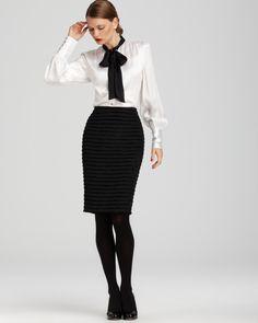Black Pencil Skirt White Satin Blouse Black Tights and Black High Heels White Satin Blouse, Satin Blouses, Bow Blouse, Classic Style Women, Beautiful Blouses, Office Fashion, Modest Dresses, Fashion Outfits, Womens Fashion