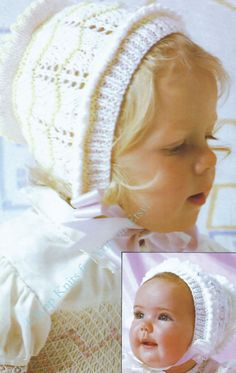 Vintage Knitting Pattern - Baby Bonnets 2 styles in DK 8 ply yarn for ages 0 - 10 Years INSTANT DOWNLOAD [N170]: To purchase this pattern all you have to do is submit payment and it will be available for instant download. You will require Adobe reader to open this format, which is a free download from the Adobe website.