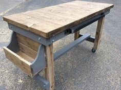 Hand Made Industrial Farmhouse Butchers Block Style Table / Breakfast Bar or Kitchen Island These units are chunky and made to last for years Breakfast Table Setting, Breakfast Plate, Breakfast Bar Kitchen, Breakfast In Bed, Bar Dining Table, Picnic Table, Easy Breakfast Casserole Recipes, Industrial Dining, Industrial Farmhouse