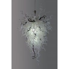 Each chandelier comes standard with four or more 120V-220V LED bulbs, a brushed nickel ceiling mount and cable-lock mounting hardware. Made of 100% hand blown glass, each glass stem measures between 10-20 inches in length and is individually hung on a central metal frame. Installation is a breeze with our easy-to-use installation guide and free phone support. Available in only 1 size. $1,150.00