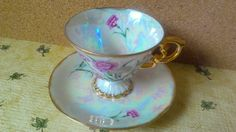 Fancy Footed JANUARY Cup and Saucer pink by WhitecloudAntique