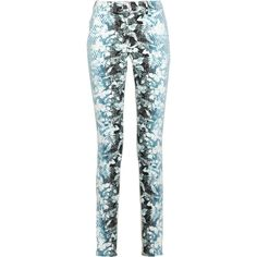 Alexander Wang Printed high-rise skinny jeans (2,335 MXN) ❤ liked on Polyvore featuring jeans, pants, bottoms, alexander wang, light blue, skinny fit jeans, super high-waisted skinny jeans, high rise jeans, denim skinny jeans and skinny jeans