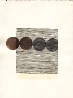 """""""Circle #3""""  2009  7"""" x 5""""  Ink and Watercolor on Paper, drawing by Misato Suzuki"""