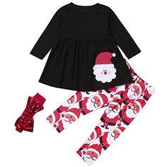 Jimmackey 3pcs Neonata Ragazze Manica Lunga Santa Applique Vestiti Tutu Top  Pantaloni Fascia Natale Abiti Set 4739104bb5d