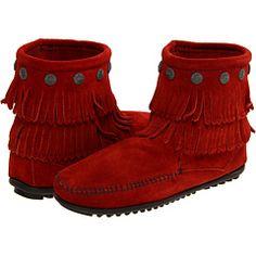 Red Minnetonka boots