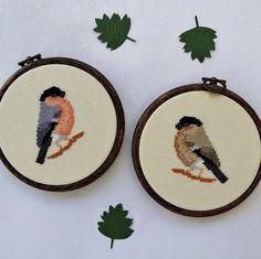 Bullfinch Pair cross stitch pattern. Cross by HawthornTreeDesigns