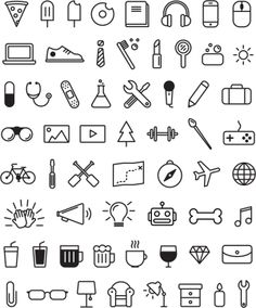 Icons von Amy Dosen via Behance You can find Behance and more on our website.Icons von Amy Dosen via Behance Mini Drawings, Cute Easy Drawings, Small Drawings, Doodle Drawings, Cute Little Drawings, Kawaii Drawings, Tattoo Drawings, Pencil Drawings, Bullet Journal Banner