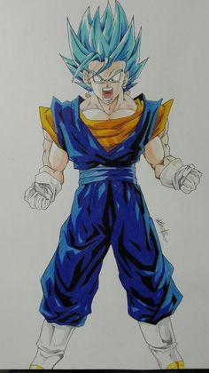 Prismacolor colored pencil drawing of vegeth SSJ God SSJ