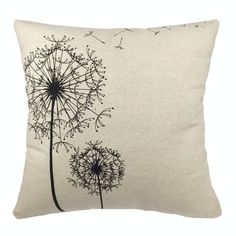 """Come2buy - Morden Stylish Simplicity Dandelion Floral """"As You Wish"""" Cotton Linen Sofa Couch Chair Throw Pillowcase Cushion Cover Decorative Insert Not Included"""