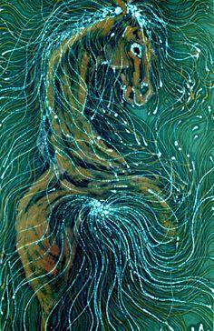 Horse of Sea Green by Amity Farm Batik,  Carol Law Conklin