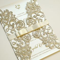 They're so extra and I'm in love | Gold Glitter Laser Cut Wedding Invitations