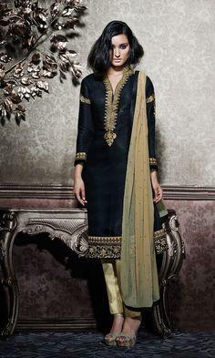Black Embroided Silk Salwar Kameez Dupatta