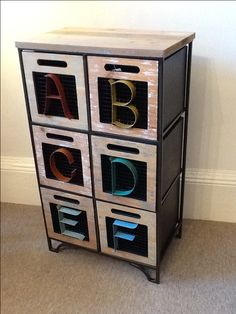Chest of drawers with metal Alphabet letters, great for a child's room or a real fun piece for any room in your home.