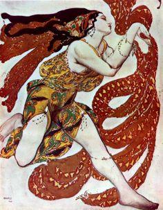 By Leon Bakst, 1 9 1 Programme Officiel des Ballets Russes, Narcisse. The Ballet Russe was a huge influence on fashion. The oriental costumes and sets were designed by Leon Bakst. Russian Ballet, Russian Art, Art Nouveau, Illustrations, Illustration Art, Léon Bakst, Art Beauté, Fun Art, Ballet Costumes