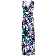 Kaliko Jersey Maxi Dress, Multi (100 CAD) ❤ liked on Polyvore featuring dresses, v neck dress, sleeve maxi dress, mini dress, floral dress and floral print maxi dress