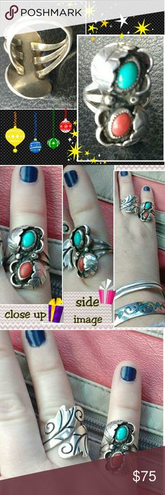 """💙♥Native American Turquoise and Coral Ring♥💙 Gorgeous, floral shadowbox design w/ sawtooth bezel cut settings on coral & turquoise. Leaf detail wraps around opposite sides of the ring beside each stone. Breathtaking colors!!  Very well made, presumed to be Navajo, although there are no stamps of identification on inside. Measures approximately 1"""" high and 1/2"""" wide. Ring is a size 5. Previously worn, however in very good condition (may show some minor signs of use such as light…"""