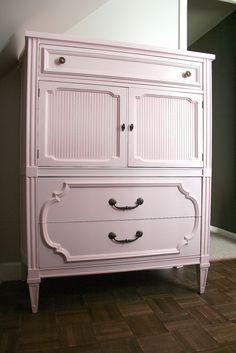 vintage dresser painted in Powder Blush by Benjamin Moore