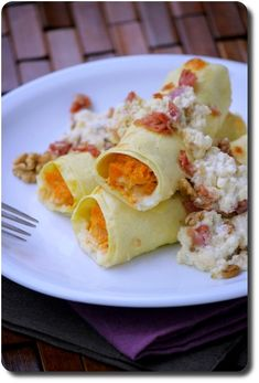 Cannelloni farcis à la courge Butternut et ricotta en sauce au parmesan