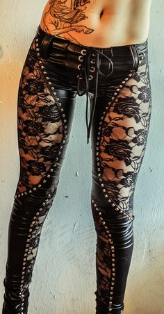 TOXIC VISION Black Widow studded lace pants....next rock concert for sure!