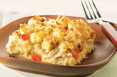 Swiss Chicken Strata recipe - someone used cheddar and said it was good that way, too.