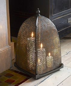 "Moorish Iron Windlight-since it is metal, gets hot. BUT you could use the LED ""candles"" under it and it would be just fine. Beautiful filigree work."