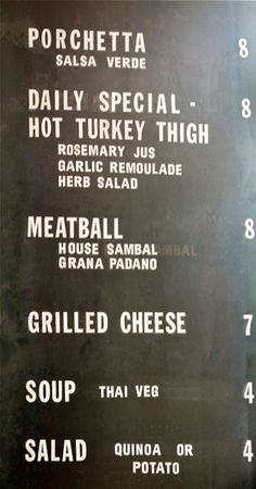 Meat and Bread menu - Vancouver, BC