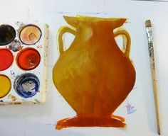 Lesson on adding shading, details, and a little early art history. Greek urns made from craft paper.