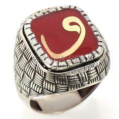 925 sterling silver men ring man arabic vav calligraphy turkish handmade red anatolian