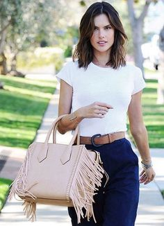 Model (and total Bendel Girl) Alessandra Ambrosio wears the new Rivington Fringe Tote: a trendy, yet beautifully neutral choice for spring.