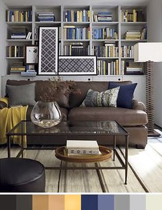 Sofá color chocolate, paleta de color gris, amarillo y azul • Gray+yellow+blue palette for a brown sofa
