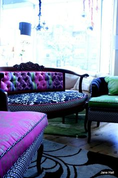 Jane Hall, you re-upholstering VIXEN! french provincial, modern vintage, bohemian chic, feminine, eclectic, bright, jewel tones.