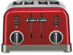 Cuisinart Metal Classic Toaster - Red Very Retro looking! Glass Toaster, Stainless Steel Toaster, Brushed Stainless Steel, Breakfast Station, Countertop Oven