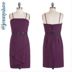 "{modcloth} purple dress w/ belt Brand new purple dress from Modcloth with a black belt. Has spaghetti straps, sheath dress with an effortless flat ruffle.  76% polyester, 21% cotton, and 3% spandex. Fabric provides stretch. Has a back vent that is 4"". Unlined. Length is 35.5"".   Marked a small but fits like an xs.  Never been worn! ModCloth Dresses"