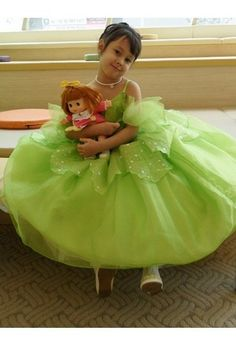 VERDE Tinker Bell vestido da menina flor