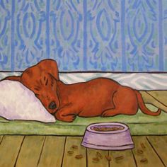 DACHSHUND sleeping dog bowl ceramic art tile coaster